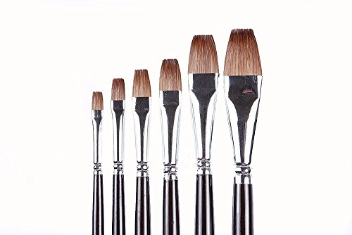 Quality Red Sable (Weasel Hair) Long Handle, Flat Paint Brush Set For Acrylic, Oil, Gouache and Watercolor Painting,set of 6 pcs. (Fine Flat Brush)