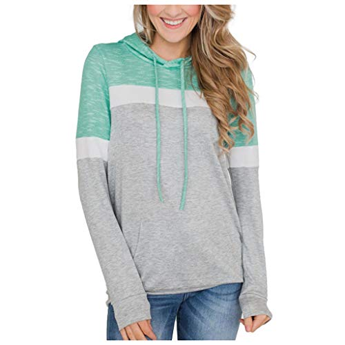 LBPSUUEW Women Sweatshirt Patchwork Hooded Long Sleeve Tops with Pocket Autumn Casual Pullover Shirt Blouse (M, Green) (Polo Ralph Lauren Striped Knit Dress Shirt)