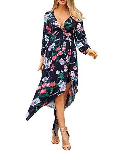 (Starchic Women's Dress Summer Boho Floral Print Dress Ladies Sexy Deep V Neck 3/4 Sleeved Irregular Hem Beach Midi Dress Dark Blue)