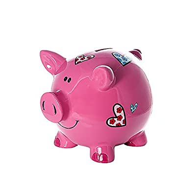 Mousehouse Gifts Large Big Pink Pig Money Box Toy Coin Savings Piggy Bank with Hearts for Kids Adults Children Present Gift for Girls: Toys & Games