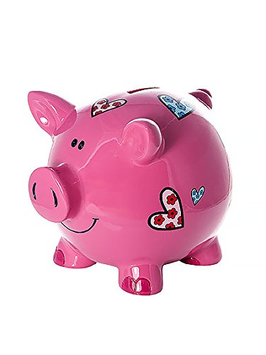 Mousehouse Gifts Large Big Pink Pig Money Box Toy Coin Savings Piggy Bank with Hearts for Kids Adults Children Present Gift for Girls by Mousehouse Gifts