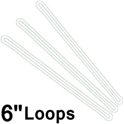 6 Inch Premium Clear Plastic Luggage Loop Straps / Worm Loops for Luggage Tags, by Specialist ID (100 Pack + Bonus)