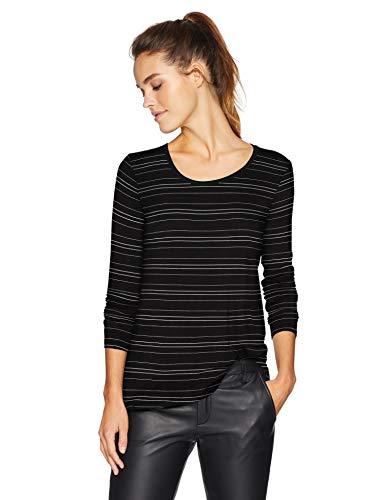 (Amazon Brand - Daily Ritual Women's Jersey Long-Sleeve Scoop-Neck Swing Shirt, Black-White Stripe, Small)