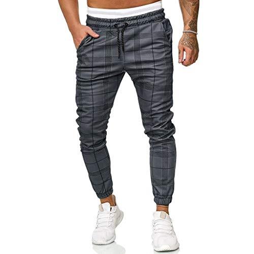 Casual Slim Fit Plaid Sport Pants Men