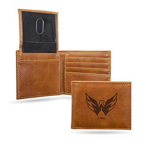 - Rico Industries NHL Washington Capitals Laser Engraved Billfold Wallet, Brown
