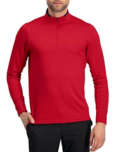 Golf Half Zip Pullover Men - Fleece Sweater Jacket - Mens Dry Fit Golf Shirts True Red - Fleece Neck Shirt Zip