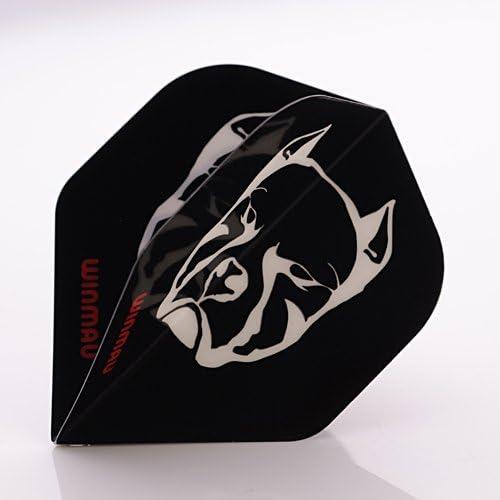 WINMAU Mega Standard Pit Bull Black Pitbull Dart Flights Choose How Many Sets