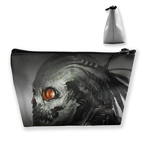 Makeup Bag Cosmetic Skull Robot Cyborg Portable Cosmetic Bag Mobile Trapezoidal Storage Bag Travel Bags with Zipper ()