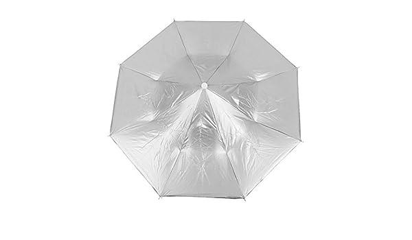 Amazon.com: eDealMax Pesca Cinta elástica Doblado Lluvia sombrilla Sombrero tono de Plata: Home & Kitchen