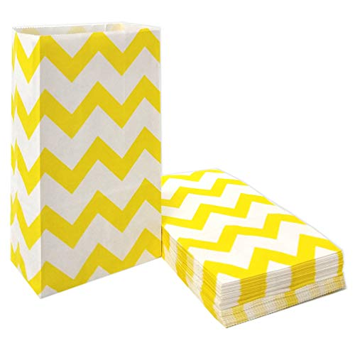 50 PCS Chevron Paper Bags Yellow Paper Favor Bags for Snack Nuts Goodie Treat Bags for Kids' Birthday Wedding Party Favor Bags (5.1 x 3.1 x 9.4 in Yellow) ()