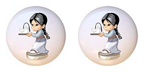 Teapot Glossy - SET OF 2 KNOBS - Asian girl in a gray and blue kimono carrying a teapot - Asian - DECORATIVE Glossy CERAMIC Cupboard Cabinet PULLS Dresser Drawer KNOBS