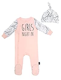 """Mini Heroes - Infant 2 PC """"Girls' Night In"""" Footed Sleeper and Hat Set, Pink"""
