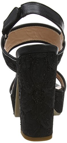Para Abierto Mujer Negro W nero Sandalias 000 Pollini Talón sandal De fn4wxHPq