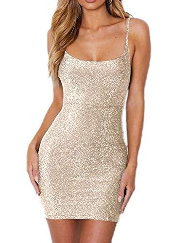 Yizenge Women's Spaghetti Strap Party Dresses Sexy Backless Glitter Club Mini Bodycon Dress (Light Gold,Small)