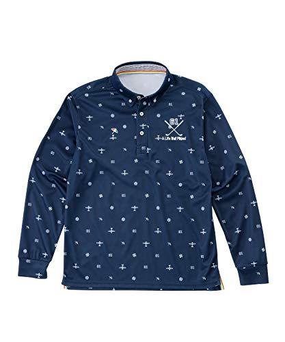 アーノルドパーマー ゴルフウェア ポロシャツ 長袖 メンズ 飛び柄BD長袖シャツ AP220202H04 NV O