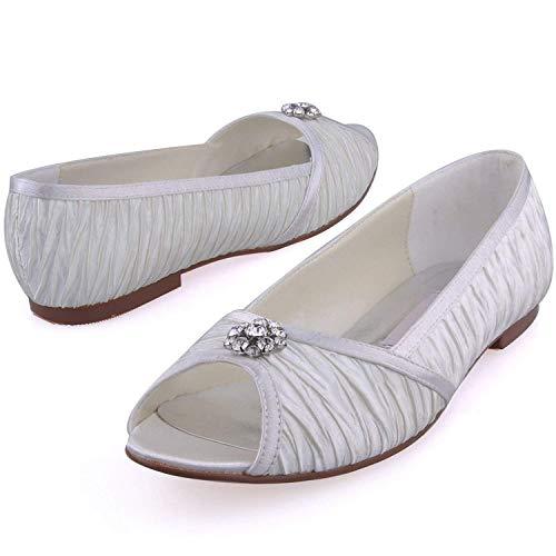 Handmade Womens 5cm White colore 8 Heel 1 Gymz676 Dimensione Flatfs Prom 5cm Heel Sera Sposa Pompe 1 Partito Black Da Sandali Raso Uk Qiusa 5 Scarpe 5EpqS