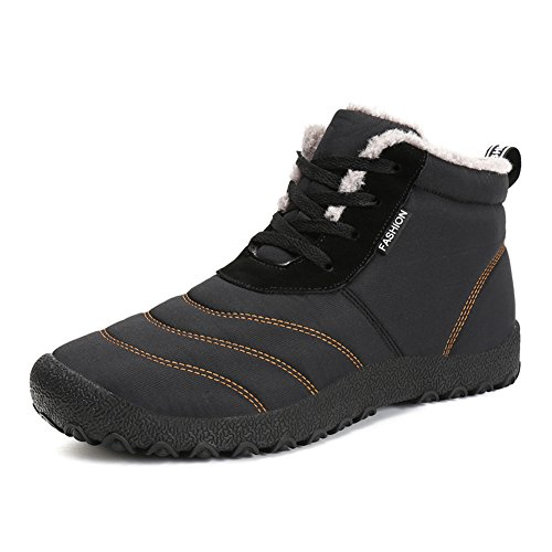 f40501eb49 Galleon - 1994Fashion Mens Waterproof Snow Boots Anti Slip Lace-Up Ankles  Sneakers Walking Winter Shoes-Black-43