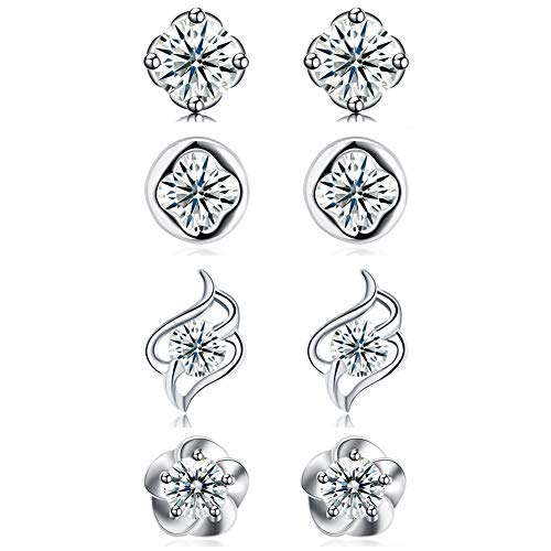 DreamSter 4 Pairs Flower Stud Earrings Sterling Silver Cubic Zirconia Earrings for Women Teen Girls Small Silver CZ Post Earrings