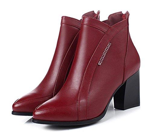 Ms grossi ha donne autunno stivali wine alto casual sottolineato con Martin stivali single red con tacco scarpe scarpe da ascensore delle donna stivali YtqwFZt