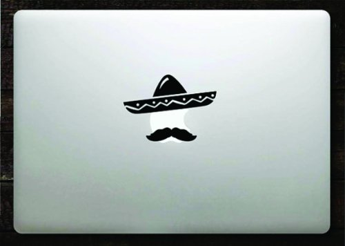 Amazon com sombrero and mustache decal sticker vinyl macbook apple logo 11 13 15 home kitchen