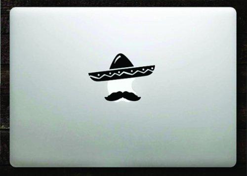 Amazon com sombrero and mustache decal sticker vinyl macbook apple logo 11 13 15 home kitchen