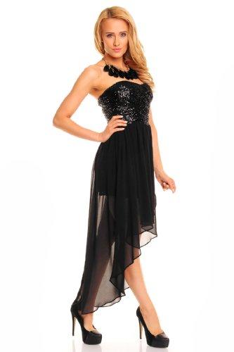 dda6f44ca850 ... Sexy Vokuhila Kleid Pailletten kurz Cocktailkleid Abendkleid Partykleid  Chiffon, verschiedene Farben Schwarz ...