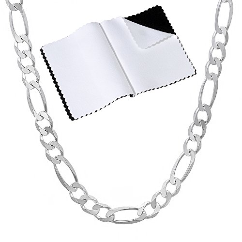 3.8mm .925 Sterling Silver Nickel-Free Italian Crafted Figaro Link Chain Necklace, 22