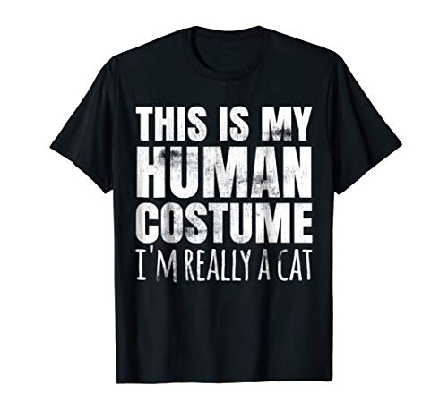 Funny Lazy Easy Halloween Cat Costume T Shirt Human -