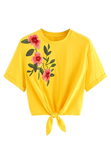 SweatyRocks Women's Floral Print Short Sleeve Crop Top T-Shirt Tie Front Lace Up Blouse Shirt (Large, Yellow#2)