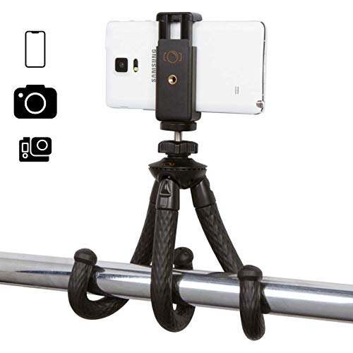 iOgrapher Compact Flexible Mini Tripod, with Action Camera Mount, Phone Mount, 1/4 20 Mount, Compatible with iOgrapher Cases, Mobile Phones, GoPro, Osmo Action, Webcam. Perfect for Recording Video