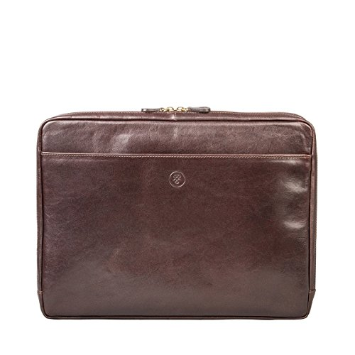 Maxwell Scott Personalized Brown Leather Notebook Cover 15 (The Verzino) by Maxwell Scott Bags