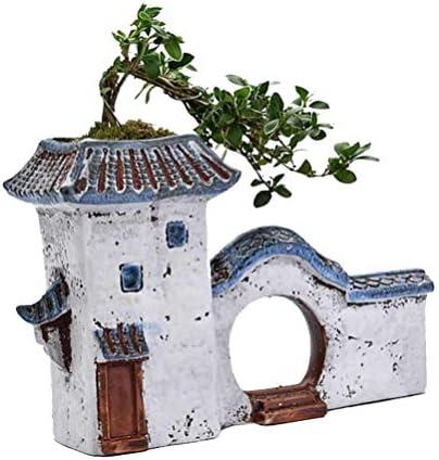 TINKSKY 陶器鉢 多肉植物ポット セラミック サボテン鉢 中国風 禅ガーデン 卓上 飾り
