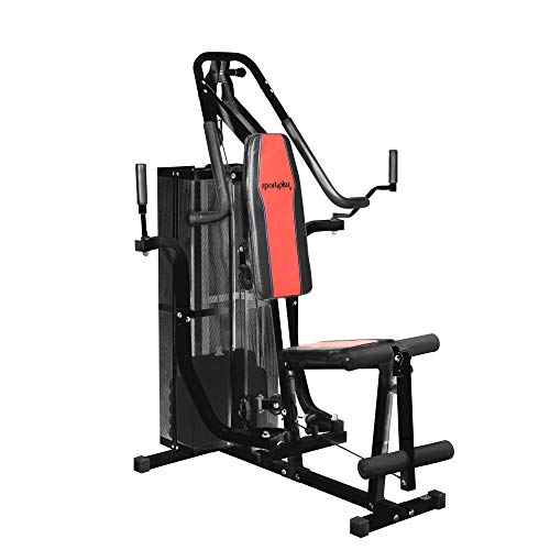 SportPlus Fitness Station - Compact Weight Station for Home Use with a Total of 26.5 kg Weight Plates - Home Gym Height approx. 167cm, Safety tested