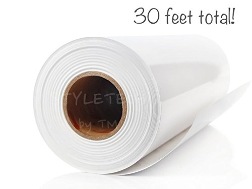 White Adhesive Vinyl Roll 12'' by 30 FEET - for Cricut, Silhouette Cameo, Craft Cutters, and Die Cutters by StyleTech (white 3mil)