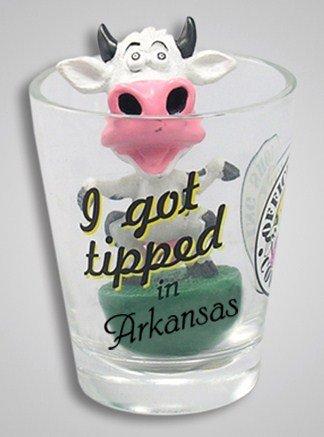 Arkansas Shot Glass - Arkansas Tipping Cow Bobble Head Shot Glass
