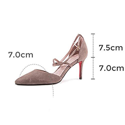 Primavera UK6 Zapatos Tamaño Zapatos Poco Negro Color Verano Single EU39 Tenedor Cruz Alto Gris Profundo Zapatos Y H04W7115 de CN39 tacón Tacón Boca YIXINY Sra De gdqIg