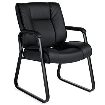 Offices To Go 2782B Luxhide Guest Chair with Arms, 25-1 2 D x 36-1 2 H x 24-1 2 W, Black