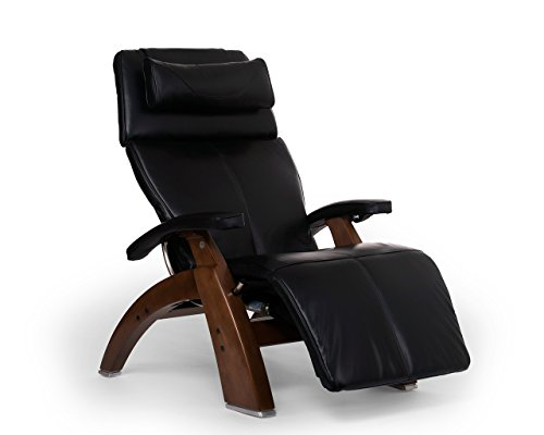 Perfect Chair Human Touch PC-610 LIVE Power Omni-Motion Walnut Zero-Gravity Recliner Premium Leather Fluid-Cell Cushion Memory Foam Jade Heat - Black Premium Leather (Renewed)