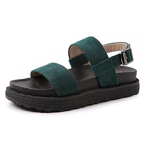 Sandale Boucle Peep Lit Chaussures Plate Femmes Pied Vert Confort Forme Wedge Sangle Sandale Cheville dqwawX4