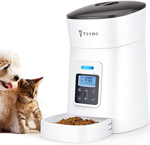 TSYMO Automatic Cat Feeder – 1-6 Meals Auto Dog Food Dispenser with Anti-Clog Design, Timer Programmable, Voice Recording Portion Control for Small Medium Pets, 4 Liters