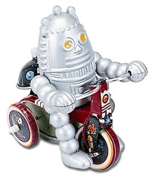 Wind Up Tricycle (Baby Robot on Tricycle, Metal Robot Winds Up, Tin Toy Collection, 4.2