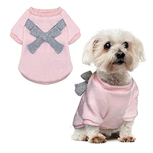 QY Pet Small Dog Coats Cat Clothes Jacket Sweater Winter Acessories Bow Knot Brushed Warm Pink Light Grey