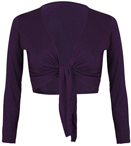 Para mujer de lazo atar frente Bolero Mujer Abierto Bolero recortada corto de líneas entretejidas tamaño 8–16 morado