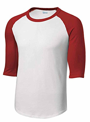 Mens or Youth 3/4 Sleeve 100% Cotton Baseball Tee Shirts Youth S to Adult 4X Wh/red-m