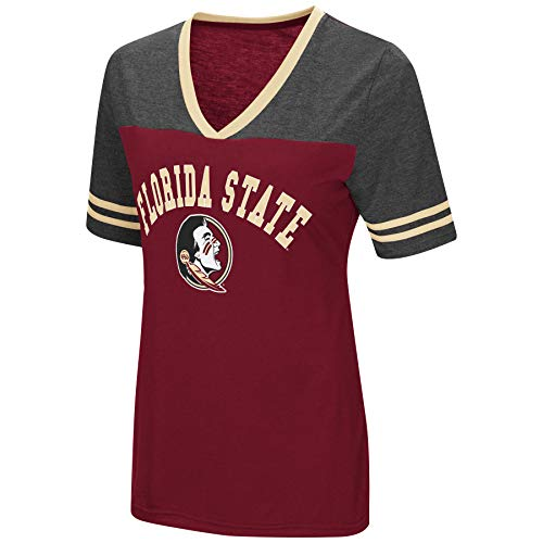 (Colosseum Women's NCAA Varsity Jersey V-Neck T-Shirt-Florida State Seminoles-Garnet-XL)