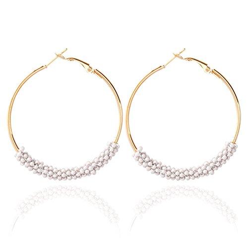 White Bead Earrings - SYGZQ Boho Dangle Earrings Beaded Earrings Ethnic Vintage Earrings for Woman Bohemian Big Hoop (White)