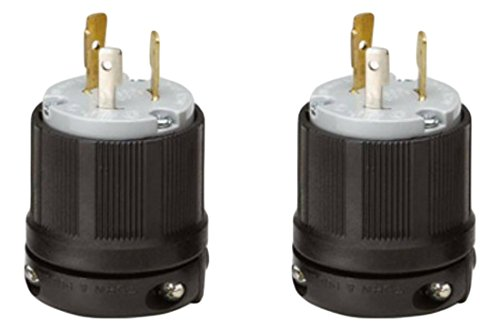 OCSParts L6-15P Grounding Locking Plug, 15A 250V AC, 2 Pole 3 Wire, cUL Listed, NEMA L6-15 (Pack of 6)