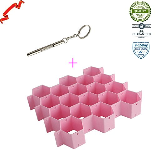 Honeycomb Shape Sock Tie Drawer Closet Divider Storage Organizer Box Pink Expandable Grid Drawer Organizer Tray Case Divider Storage (Woodland Green Acrylic)