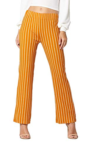 Pants Bootcut Stripe - Conceited Women's Pants Casual Palazzo Straight Bootcut Striped Trousers - Elastic High Waist - Stripe Mustard - YC1726H-1-Mustard-1X2X