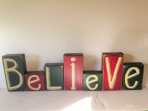 Red Hand Block (Believe sign wood blocks set of 7)